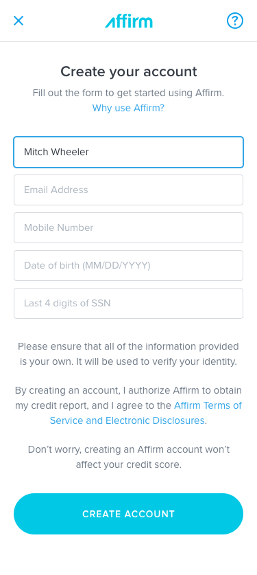 Affirm Application Form